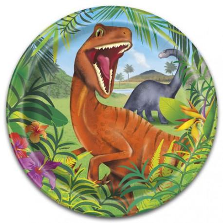 Plato de papel velociraptor
