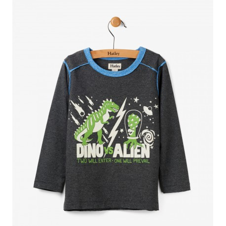 Dino vs Alien camiseta de manga larga brilla en la oscuridad