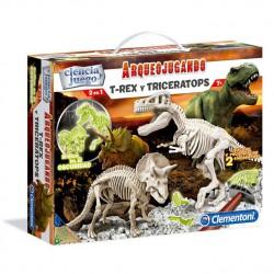 Arqueojugando con T-rex y Triceratops
