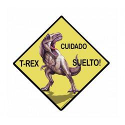 Señal de peligro T-rex suelto