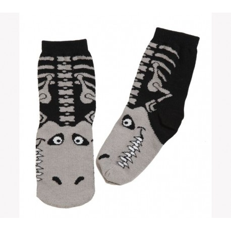 Calcetines de T-rex color negro y gris