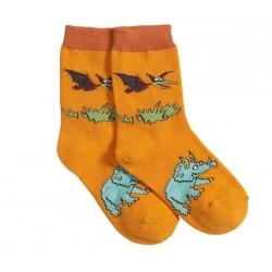 Calcetines de Triceratops y Pteranodon - naranja
