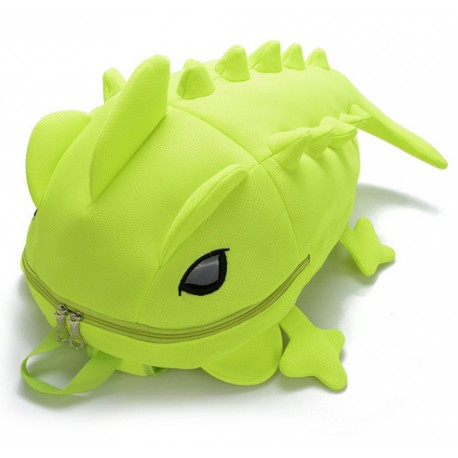 Mochila verde fluorescente dinosurio