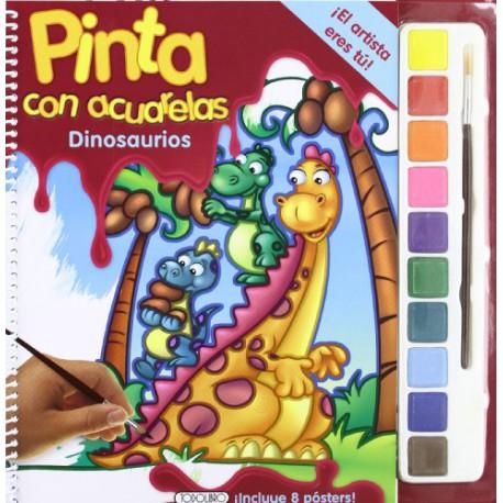 PINTA CON ACUARELAS DINOSAURIOS