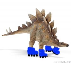 Un estegosaurio patinando