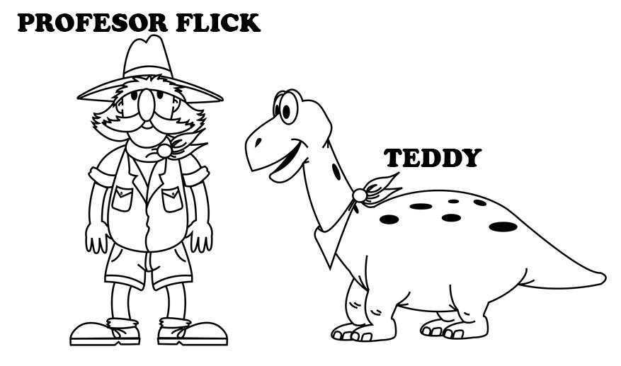Personajes infantiles de paleontologo y dinosaurio